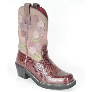 Ariat Doll Baby Burgundy Floral Western Boots NWOT